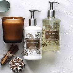 Hand lotion, soap and candle Williams-Sonoma Gift Sets, Spiced Chestnut Essential Oil Gift Set, Pure Essential Oils, Candle Box, Hand Lotion, Williams Sonoma, Biodegradable Products, Fragrance, Soap, Gift Sets