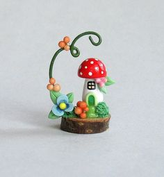 Miniature Whimsy Fairy Toadstool House OOAK by by ArtisticSpirit