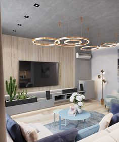 First Class Family Home With Blue, Pink And Gold Decor Living Room Modern, My Living Room, Living Room Designs, Living Room Decor, Painel Home, D House, Minimalist Living, Apartment Design, Apartment Interior