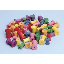 Colored Wood Spools - 50 Pieces
