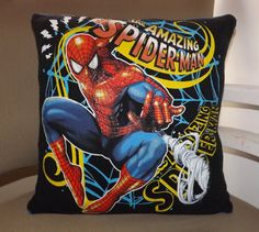 Marvel Spiderman Recycled Tee Pillow Cover  Fits 14 by TeesRecycle, $16.00