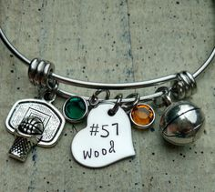 Hand stamped basketball name charm bangle / Name by Bitzymemories