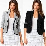 Hot Sale! 2019 New Fashion Blazer Women Spring/Autumn Slim Design two button Short Gray Blazer Jackets Coat, http://www.shopcost.co.uk/