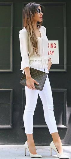 business style addict / blouse + bag + skinnies + heels