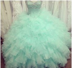 ball dress, Mint Quinceanera Dresses Ball Gown Sweetheart Beads Crystals Backless Ruffles Long Green Prom Gowns Pageant Gowns for Girls