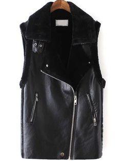 Black Lapel Oblique Zipper PU Vest
