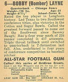 1948 Leaf #6a Bobby Layne Back