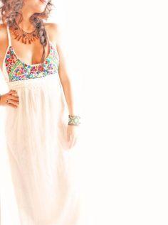 Flor de Mar Mexican cotton maxi dress floral embroidery crochet vintage laces on Etsy, $290.00