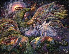 Dragon Dancers by Josephine Wall So magically do the dancers glide across the dragon's back, they feel as though they are flying through the universe. As they swirl and float through fields of flowers, the power of the music and their own movement transports them through the heavens on a journey into the unknown.