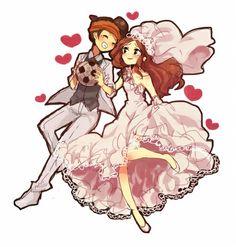 anime couple   Endou spouses (Inazuma Eleven Go)
