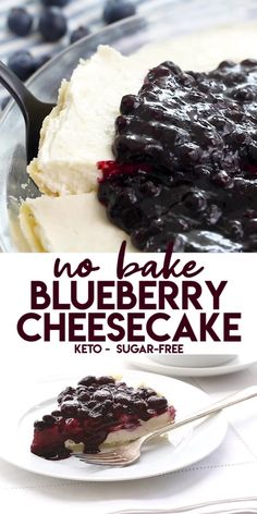 Keto No-Bake Blueberry Cheesecake Creamy cheesecake deliciousness! A perfect keto summer dessert, you don't even have to turn on your oven. Just prep and go, and enjoy the sugar-free fruits of your labor. Keto Desserts, Keto Friendly Desserts, Sugar Free Desserts, Sugar Free Recipes, Low Carb Recipes, Sugar Free Baking, Blueberry Recipes Sugar Free, Holiday Desserts, Diabetic Dessert Recipes