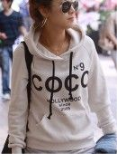 COCO No.9 Print Drawstring Hoodie Sweatshirt - 2 colors