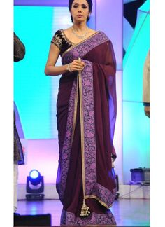 Sridevi purple plain georgette Designer saree