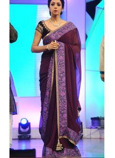 Sridevi purple plain georgette Designer saree