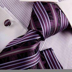 Purple wedding ties men medium orchid Stripes Woven Silk Tie Hanky Cufflinks Gift Box Set Y excellent necktie Set H8037: Clothing