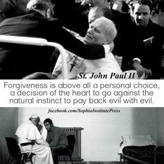 St. Pope John Paul II when he was shot and a moving image of when he talked with his would-be assassin, Mehmet Ali Ağca.