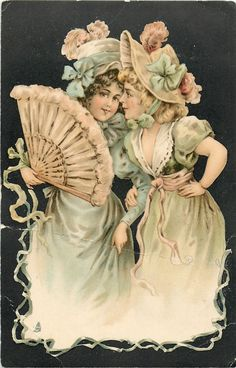 two ladies dressed in pastel colors, one to left carries fan