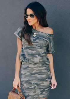 Take on the urban wilderness in our MRS ARMY CARGO MINI DRESS, featuring a classic camouflage print with a gathering at waist to show your curves with off shoulder and short sleeves. The mini-length flattering fit is cut of soft fabric that offers all-day comfort for your classic Out-of Africa look. Soft Fabrics, Wilderness, Camouflage, Curves, Africa, Army, Short Sleeves, Blouses, Urban
