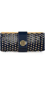 Tory BurchRattan and faux patent-leather clutch
