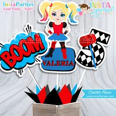 Harley Quinn centerpieces DIGITAL Superhero by InstaPartiesStudio Diy Birthday Backdrop, Birthday Party Decorations Diy, Kids Party Themes, Party Ideas, Harley Quinn, Harley Y Joker, Wild One Birthday Party, Safari Birthday Party, Girl Superhero Party