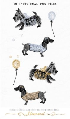 Dogs Clip Art | Hand Painted Couture Dog fox terrier, dachshund ...