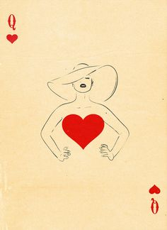 Graphic Design Ideas - Semi-Transformation Playing Cards by Patrik Svensson: The Queen of Hearts Illustration Mode, Character Illustration, Girl Illustrations, Love Heart Illustration, Paper Journal, Playing Cards Art, Playing Card Design, Art Carte, Arte Pop