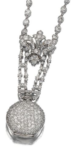 DIAMOND LADY'S FOB WATCH. The circular dial applied with Arabics numerals, the reverse decorated with circular-cut diamonds and the crown with single-cut diamonds, suspended by a Fleur-de-Lys motif, on a fine chain spectacle-set with circular-cut diamonds, pendant watch detachable, length approximately 220mm