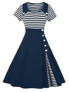 Navy Blue Striped Swing Dress – Retro Stage - Chic Vintage Dresses and Accessories
