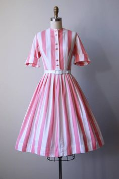 d062caf3e8f 50s Dress Vintage 1950s Dress Pink Candy Stripe Cotton Fifties Fashion