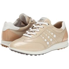 ECCO Golf Street EVO One Sport (Oyster/Lion) Women's Golf Shoes (£85) ❤ liked on Polyvore featuring shoes, athletic shoes, beige, block shoes, leather athletic shoes, lion shoes, lightweight golf shoes and athletic golf shoes