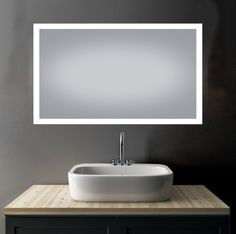 """Alexandria 30""""x48"""" LED Mirror. #bathroom #bathroomdesign #bathroomdecor #bathroomremodel #bathroomrenovation #bathtubs #kitchen #kitchendesign #kitchendecor #kitchenremodel #kitchenrenovation #vanities #mirrors #shower #interior #interiordesign #interiordecor #homeimprovement #remodel #renovation Led Mirror, Mirror Bathroom, Mirrors, Advertising Space, White Led Lights, Kitchen And Bath, Faucet, Sink, Vanity"""