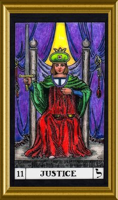 Card #11, Justice.  More cards to come, as they are colored and scanned.