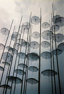 Thessaloniki, Greece - Umbrellas on the beach sculpture by Georgios Zoggolopoulos