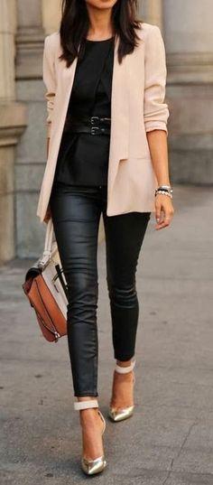 my similar clothing - faux leather leggings. beige blazer. black shirt. black belt. (metal snake skin) pumps. (gold/black) pumps.