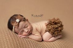 Newborn Diaper Cover Cocoa Brown Photo Prop with Matching Lace Headband in 0-3 Months Size - Newborn Photo Props, Bloomers, Girl Props