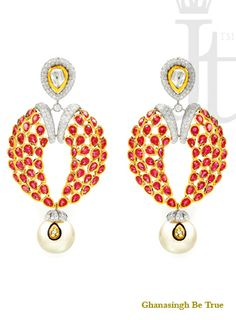 Earring: This earrings with uncuts, Black enamel, channel set baguettes, Oval #rubies and white pearls which brings out the eternal charm of #diamonds with a dash of your favorite color, adding a stunning touch of elegance to every facet.| #womensjewelry #beautiful #earrings