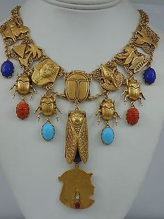 ASKEW-LONDON-EGYPTIAN-REVIVALLINKED-SCARAB-DROP-NECKLACE