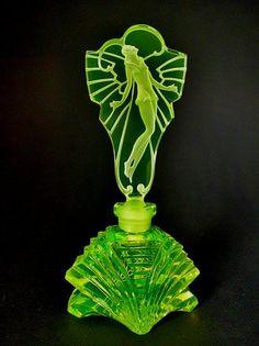 Bohemian vaseline uranium glass perfume bottle. Signed Pesnicak {Czech}