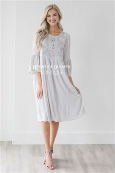 Silver Embroidery Detail Cotton Sundress, Modest Dress Bridesmaids Dress, Church Dresses, dresses for church, modest bridesmaids dresses, trendy modest dresses, modest womens clothing, affordable boutique dresses, cute modest dresses