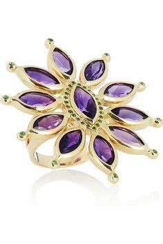 Ileana Makri   Sea Flower 18-karat gold, amethyst and tsavorite ring   NET-A-PORTER.COM