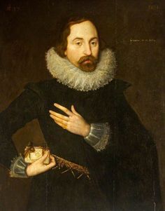 1614, Sharington Talbot I of Salwarp (1577–1642), Aged 37, Holding a Book. Christened Sharington in order to preserve the family name, Sharington Talbot was the son of Olive Sharington (d.1646) and her first husband, John Talbot British (English) School. National Trust, Lacock Abbey, Fox Talbot Museum and Village.