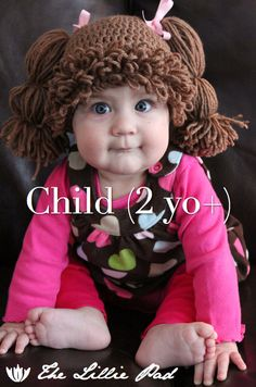 Cabbage Patch Kid Inspired Crochet Wig/Hat, CHILD Size, Custom made on Etsy, $38.00