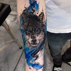 Watercolor Wolf Tattoo by Jonathan Needle