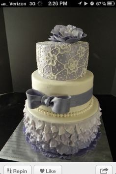 Cake for Caren - January 2014. Sky blue with no pearls! ;)
