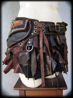 Utility Belt, Hip Pouch with Attachable Leather Mini Skirt