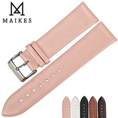 45c83621a539 MAIKES 12mm-24mm Fashion Pink Watchbands Women Watch Accessories Leather  Watch Strap Thin Watch Bracelet For Brand Watch Band