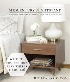 Our simplified take on this midcentury-style nightstand it little more than a four-piece frame completed with a plywood back and some tapered legs. The fasteners are cleverly hidden o...
