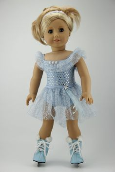 """American Girl doll clothes - 3 piece  ice skate / dance / ballet outfit (fits 18"""" doll) (414blu)"""