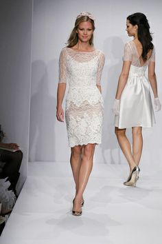 Allover lace on this short wedding gown from Encore by Watters. (Photo: Dan Lecca)