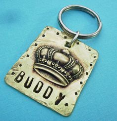 King or Queen Puppy Dog or Cat Pet Id Tag  soldered #metalwork jewelry for your fluffy friend, $16.95